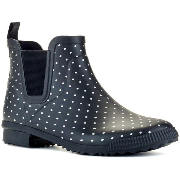 Cougar Cougar Regent Handcrafted Rubber Waterproof Rain Boot |... ($37) ❤ liked on Polyvore featuring shoes, boots, ankle boots, black polka dot, black rain boots, low heel ankle boots, polka dot rain boots, rain boots and black waterproof boots