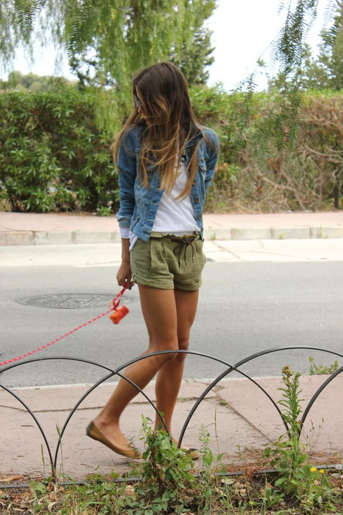 Denim Jacket And Green Shorts.