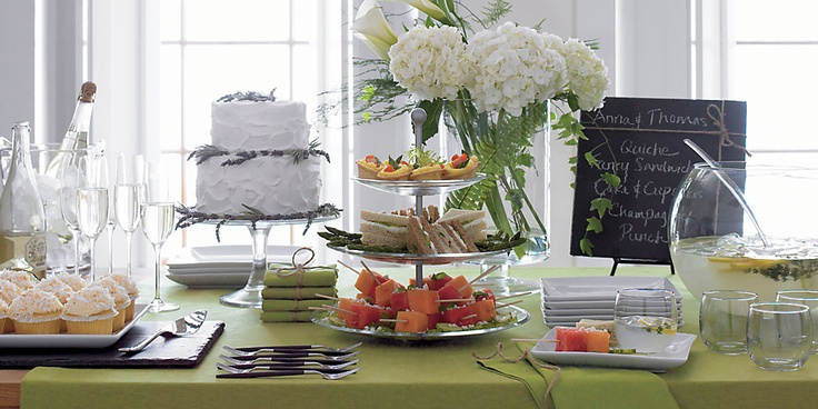 wedding shower table: Food Display, Shower Ideas, Buffet Tables, Tables Sets, Shower Tables, Wedding Showers, Parties Ideas, Bridal Shower, Crates And Barrels
