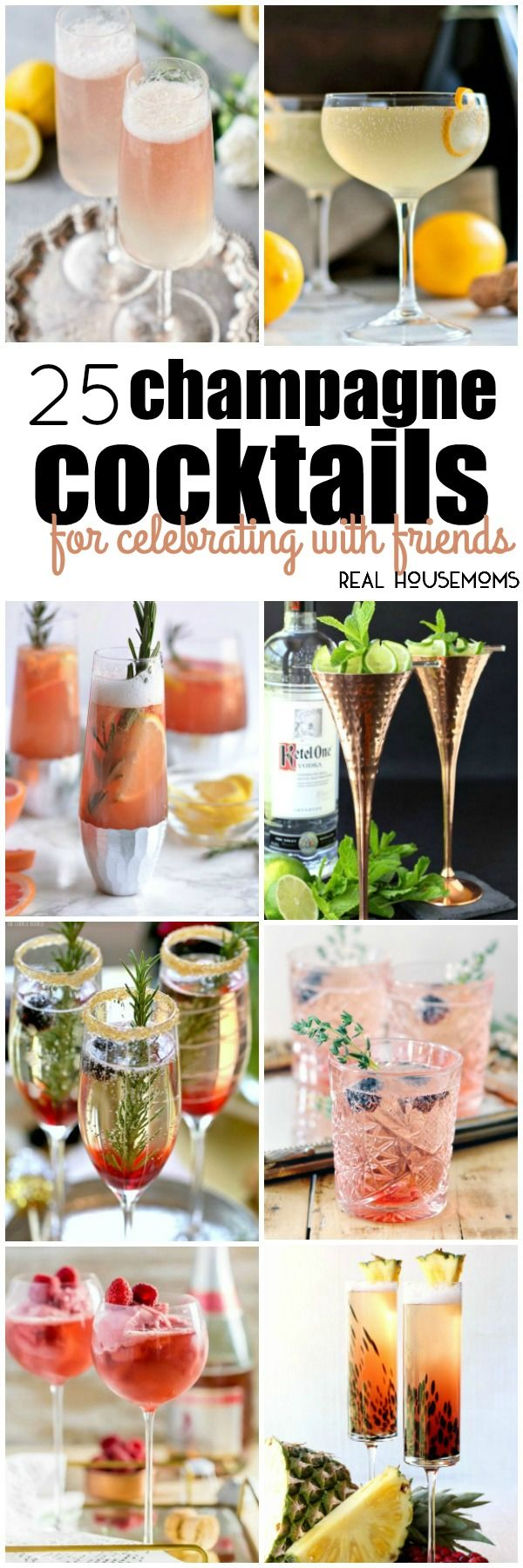 No matter what time of year it is, these 25 Champagne Cocktails for Celebrating with Friends are sure to make your gathering extra special! via @realhousemoms