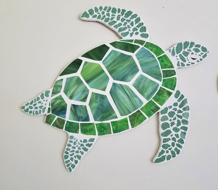 swimming sea turtle mosaic