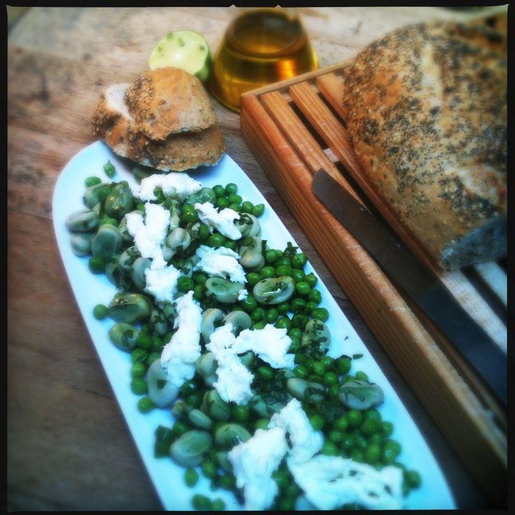 Salade van groene bonen, mozzarella en limoen