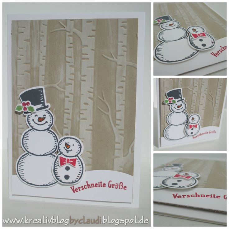 by Claudi: Snow Place & matching Snow Friends framelits plus Woodland embossing folder - all from Stampin' Up!