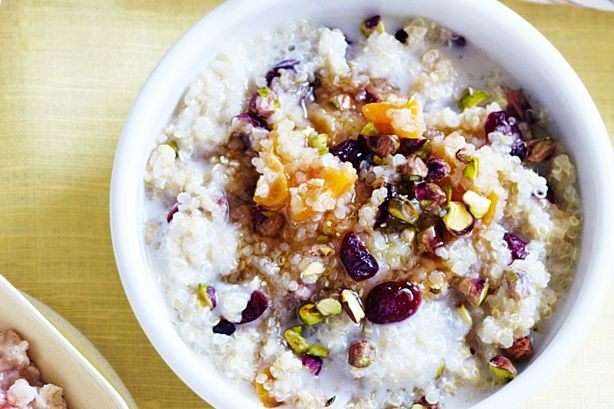 Apricot Cranberry and Pistachio Quinoa porridge - sub milk and leave out brown sugar. The fruit makes it sweet enough