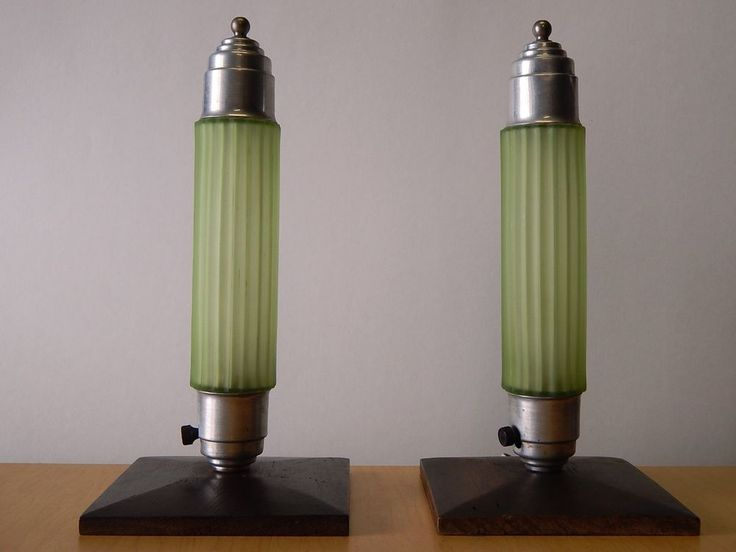 vtg pair art deco lamps geometric green glass shades jade aluminum table dresser