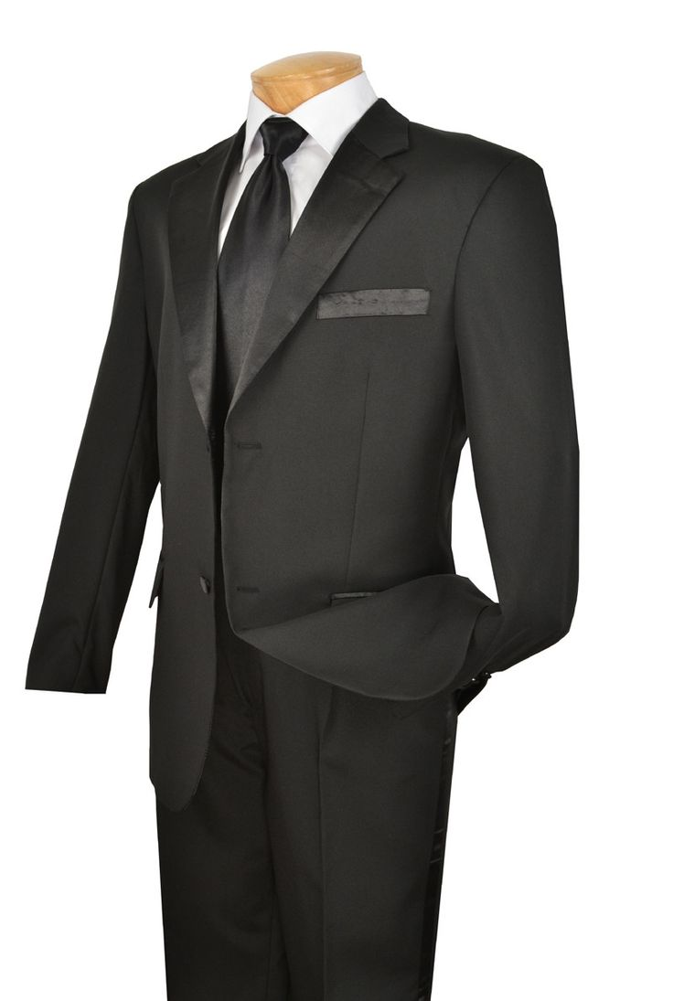 NEW! WEDDING TUXEDO SUITS FOR MEN VINCI MEN'S CLASSIC TUXEDO COLLECTION IN BLACK TWO BUTTON DESIGN