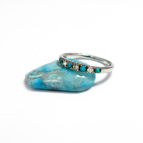 Eternity Wedding Ring with Diamonds and Turquoise by JonJonJewel