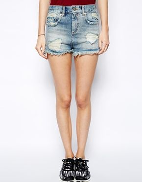 Image 4 ofASOS High Waisted Denim Shorts with Side Split and Rips in Vintage Wash