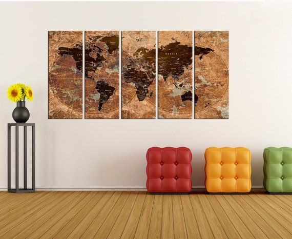 Canvas prints add a unique touch to your home. Modern, stylish and unique design will be the most special piece of your decor. Especially for those who like abstract works, black and white acrylic painting can be prepared in desired sizes  Push pin world map wall art canvas, travel map, extra large wall art canvas print, Rustic push pin world map wall with countries No:6S72   i designed the watercolor map on photoshop. you will receive high resulation canvas print   ◆ GALLERY WRAPPED…