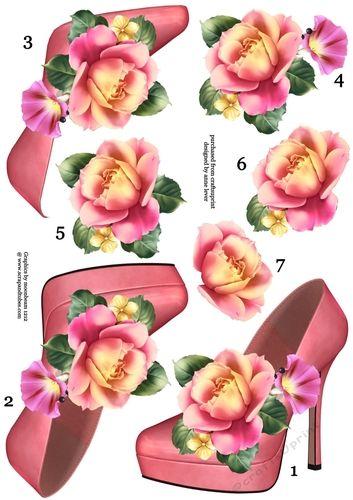 Stunning Shoe & Summer Rose Decoupage Sheet - CUP714991_1763 | Craftsuprint