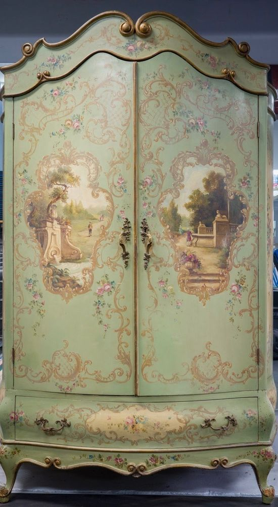 antique furniture armoire. gorgeous antique french venetian hand painted armoire roses furniture