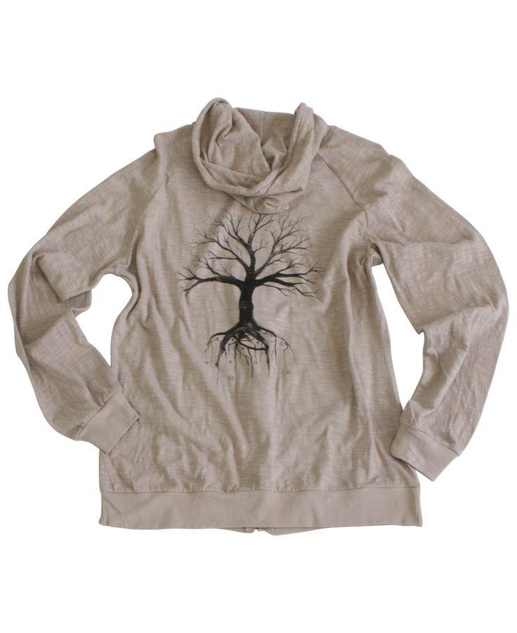 Tree of Life Beige Zip-Up Hoodie, Women's Sweatshirt