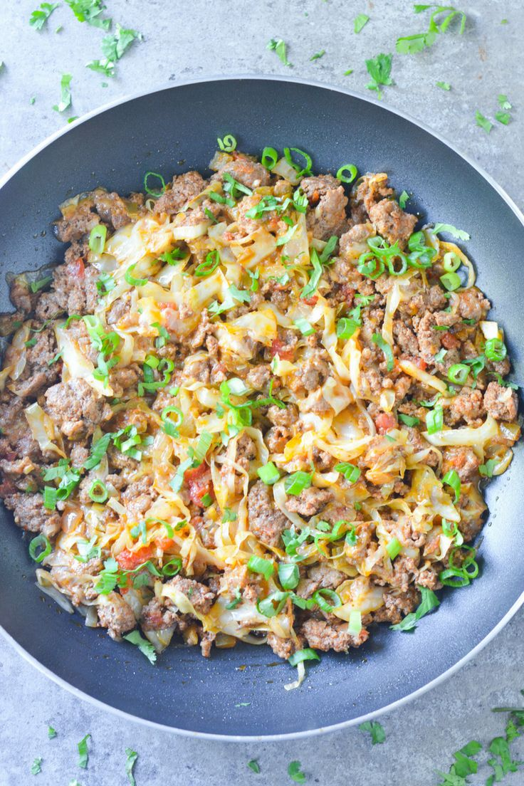 This Low Carb Taco Cabbage Skillet is an easy keto dinner with amazing taco flavor. The perfect one-pan meal for when you're low on time!