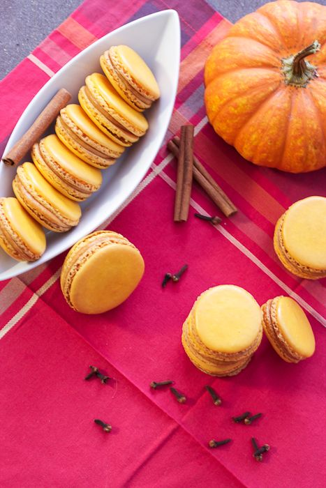 Pumpkin Macarons #cookieweek | The Girl In The Little Red Kitchen