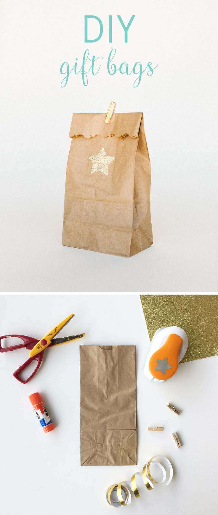 Turn a brown bag into a chic gift bag crafts brown for Brown paper craft bags