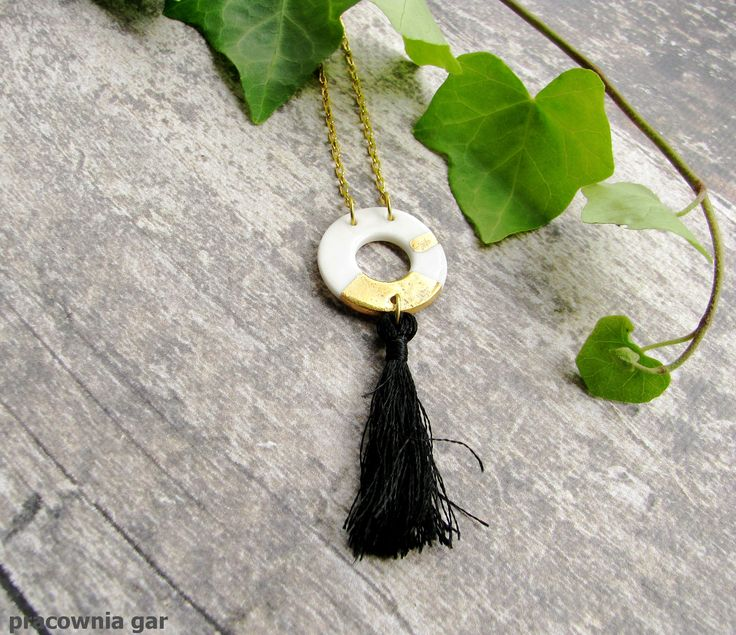 Pendant , boho , gold , glazed porcelain , necklace ,