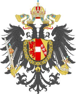 Small coat of arms of the Austro-Hungarian Empire 1867–1915, with the Habsburg Order of the Golden Fleece superimposed on the Austrian Doubleheaded Eagle, and crested by the Crown of Rudolf II (Wiki)