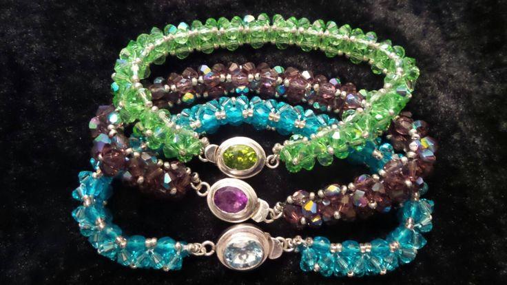 Birthstone Crystal Bracelets by VelasButtonsandBeads on Etsy