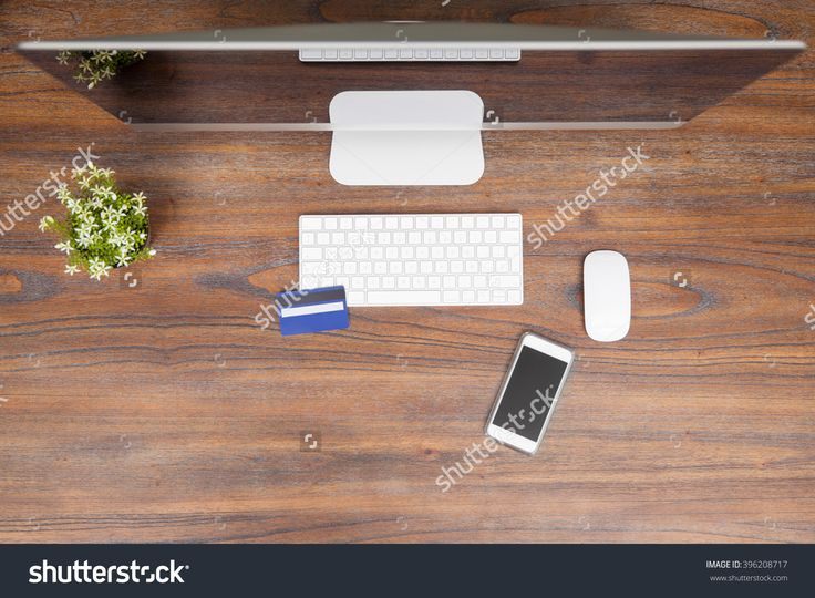 Flat Lay Of A Desktop Computer, A Smartphone And A Credit Card On A Wooden Desk Ready For Some Online Shopping Стоковые фотографии 396208717 : Shutterstock