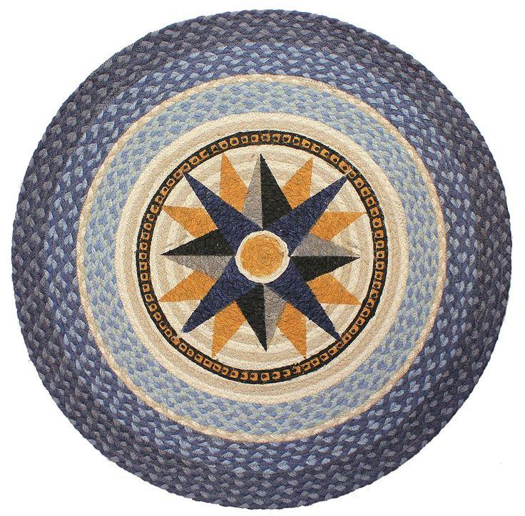 Nautical Compass Rose Rug: Blue Nautical Compass Rug, Braided Round Rug Coastal Decor