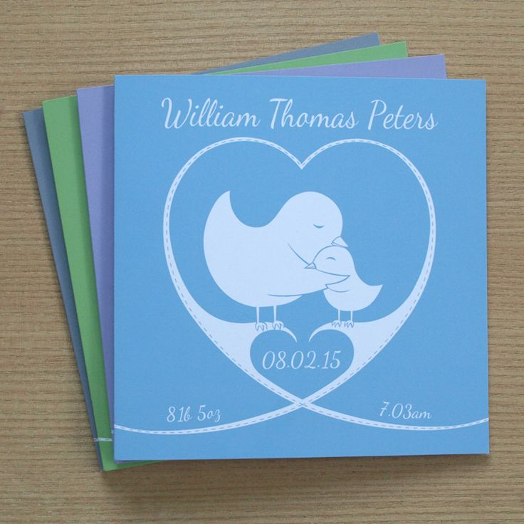 Personalised new baby card with bird designby Doodlebump