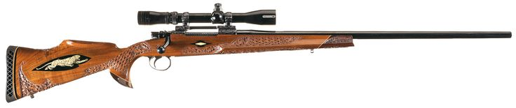 Engraved Winslow Arms Co. Imperial Grade 338 Winchester Magnum Bolt Action Rifle with Deep Relief Carved and Inlaid Stock and Scope