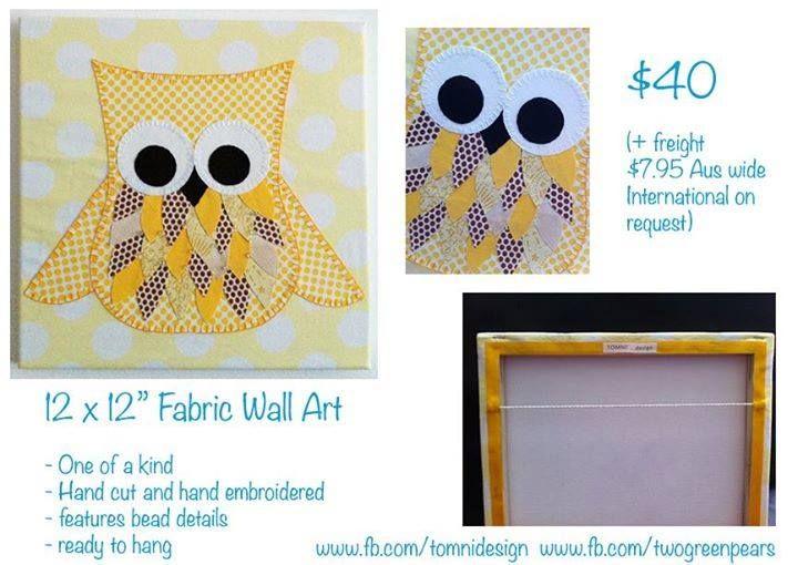 "Handmade by Two Green Pears 12x12"" Fabric wall art"