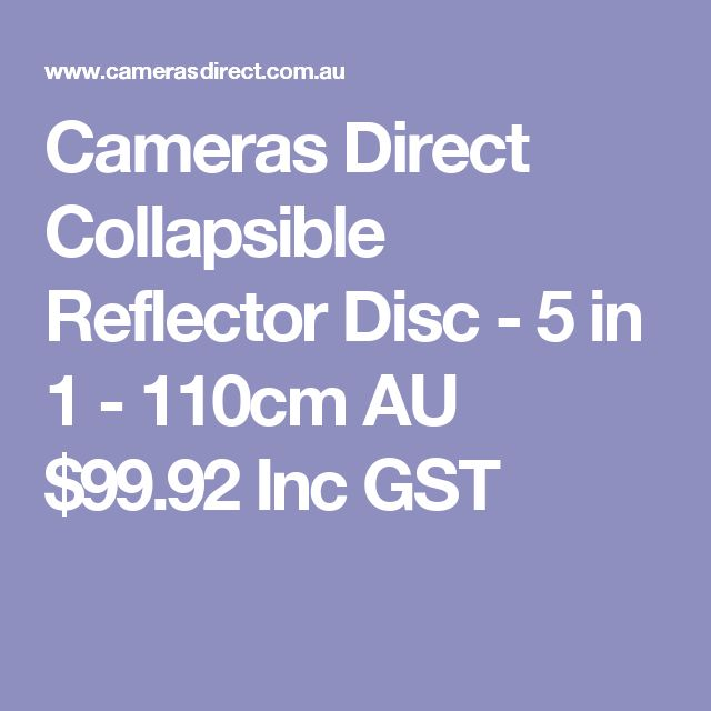 Cameras Direct Collapsible Reflector Disc - 5 in 1 - 110cm  AU $99.92 Inc GST
