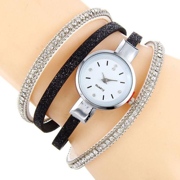 Rhinestoned Faux Leather Bracelet Watch - BLACK