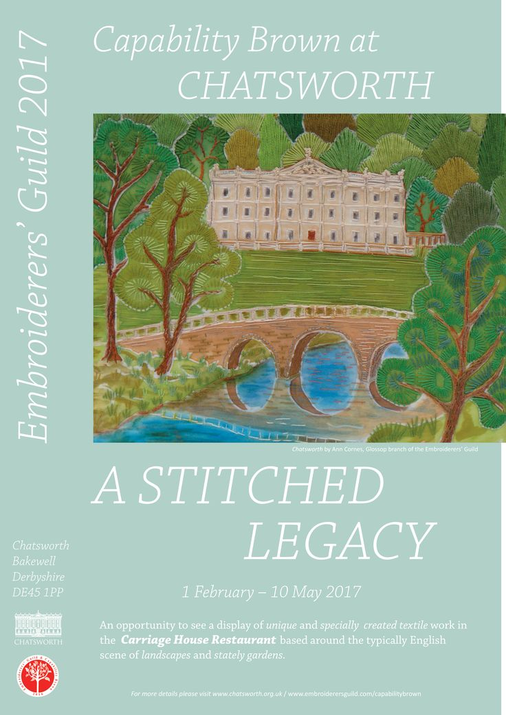 """Capability Brown at Chatsworth"" exhibition of textiles based on landscapes and gardens at Chatsworth House 1 February - 10 May 2017.  Embroideries worked by members of the Embroiderers' Guild local branches."