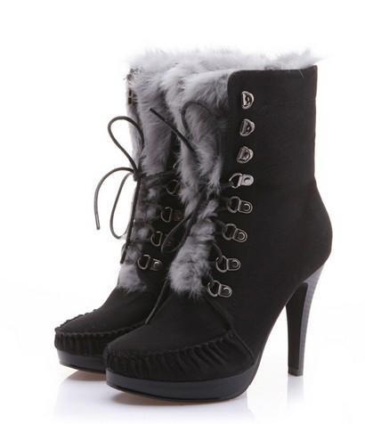 Black High Heeled Lovely Girlish Korean Trendy Boots with Fur
