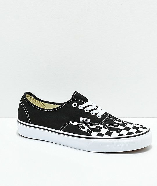 8673254f784 Vans Authentic Checkerboard Flame Black   White Skate Shoes in 2019 ...