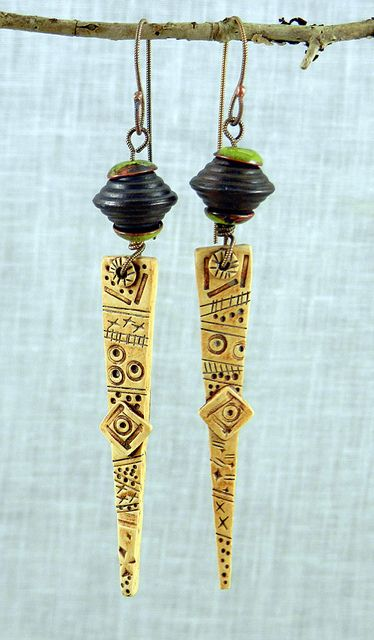 Horn of Africa earrings - polymer clay by Stories They Tell, via Flickr
