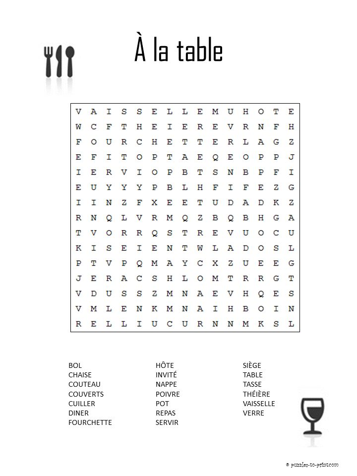 Learn words that would be used in the dining room in France and have an entertaining time solving this French vocabulary word search.