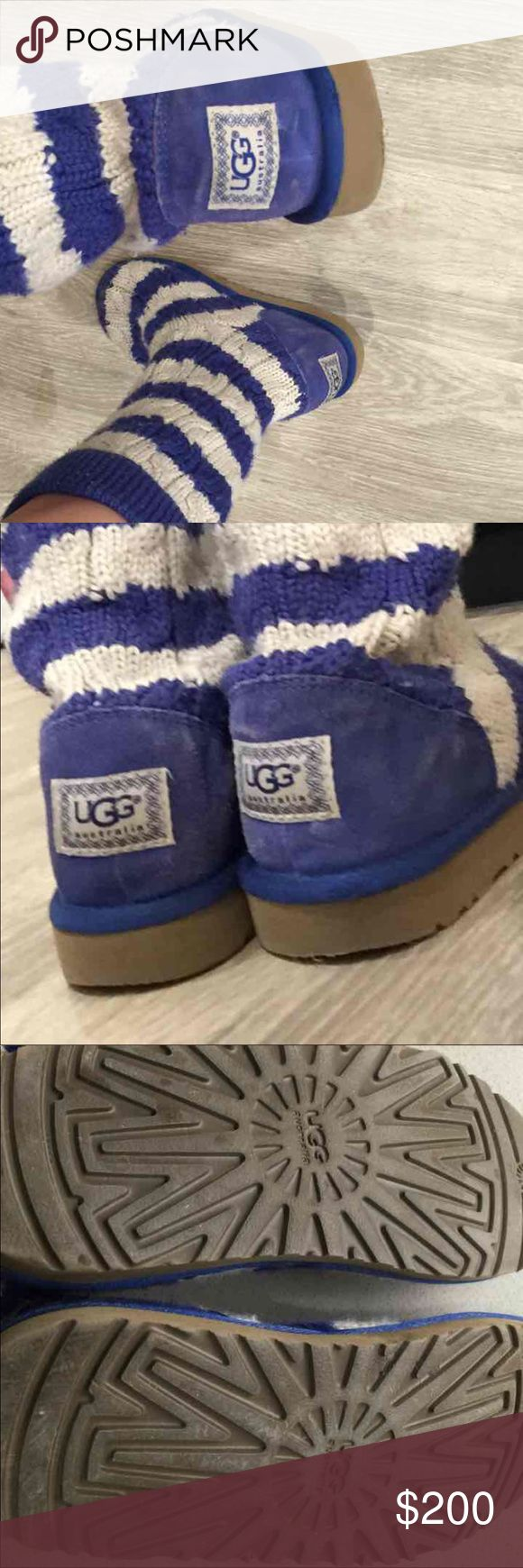 Comfy cozy uggs Cozy comfy tall Wool blue and white ugg boots. In good, used condition - no major flaws.   Size 4 (fits large - could fit a woman's 5/6)   Moving & must go. Feel free to make an offer and we can negotiate on a price we both are happy with  UGG Shoes Boots