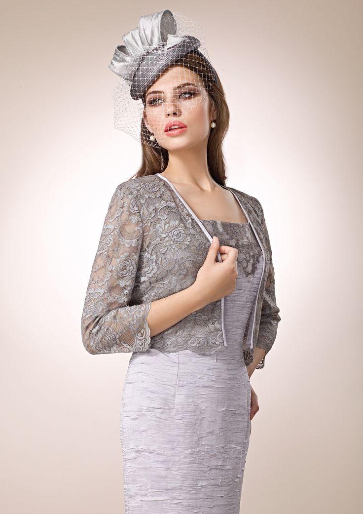 ZEILA DONNA 9194  Vestido de fiesta corto en shantung con chaqueta en encaje