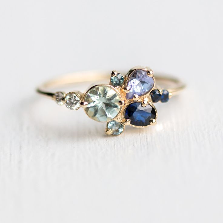 Clear Water Ring in 14k Yellow Gold, aquamarine, sapphire, tanzanite & diamond cluster