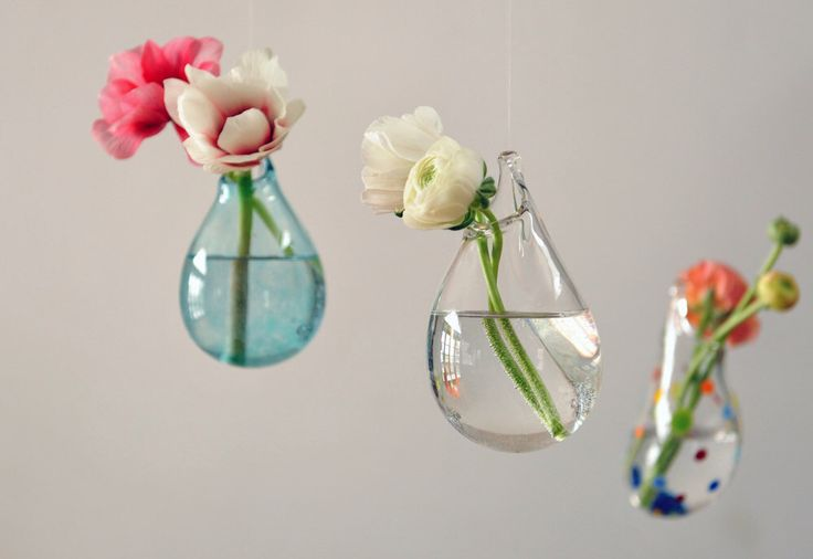 Hanging Air Plant Vase / Hand Blown Glass Vase/ Transparent Pale Blue / Flower Vase / Wall Decor by AvolieGlass on Etsy https://www.etsy.com/listing/179753149/hanging-air-plant-vase-hand-blown-glass