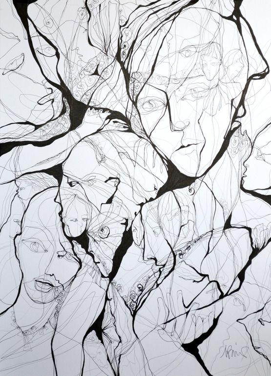 "Boicu Marinela; Pen and Ink, 2013, Drawing ""bad dream"""