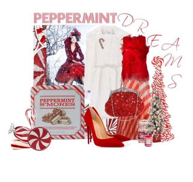 """""""Peppermint Dreams"""" by wildorchid21-1 ❤ liked on Polyvore featuring Pier 1 Imports, R.H. Macy & Co., Shrimps, Off-White, Gianluca Capannolo, Improvements, Christian Louboutin and Nadri"""