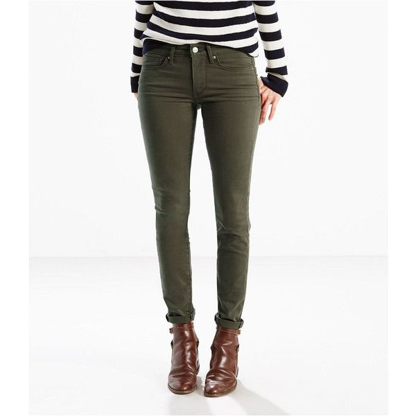 Levi's 711 Skinny Jeans, Green (Size: 27) - Womens > Jeans >... ($40) ❤ liked on Polyvore featuring jeans, green jeans, white jeans, white denim skinny jeans, zipper skinny jeans and skinny fit jeans