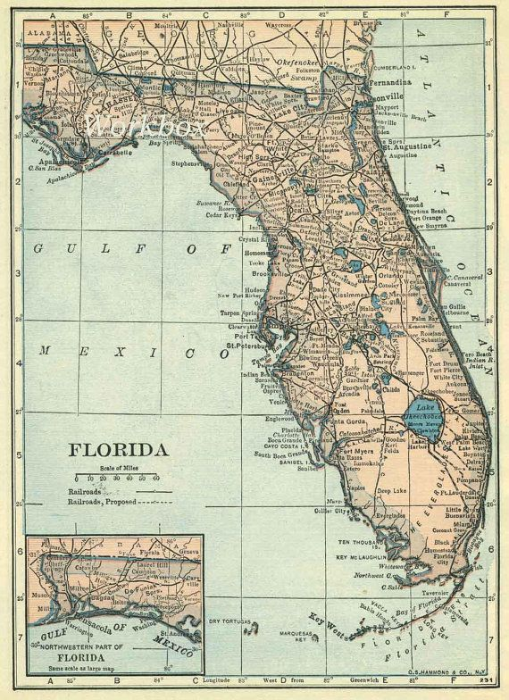 55 best maps stationery and envelopes images on pinterest contact florida map digital download at 300dpi of vintage by workbox publicscrutiny Image collections
