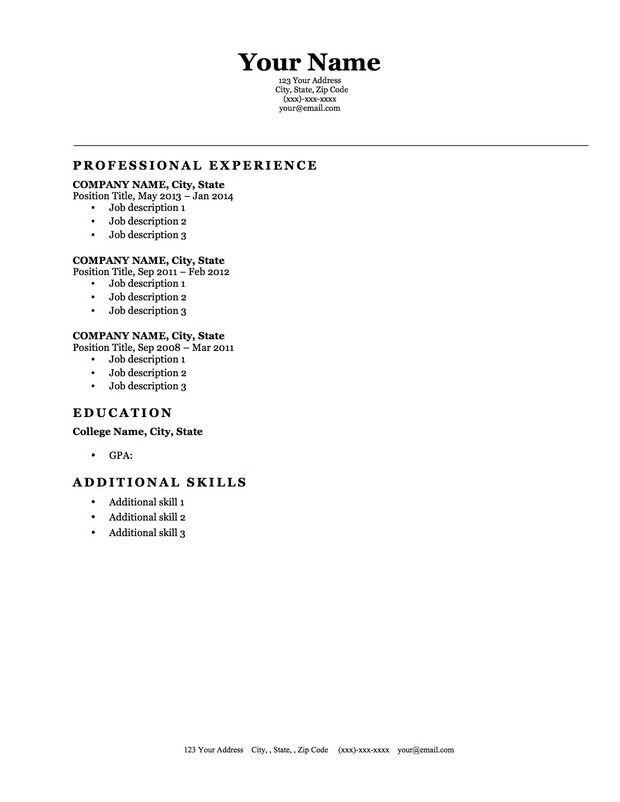 Blank Resume Template Microsoft Word - http://jobresumesample.com/331/blank-resume-template-microsoft-word/