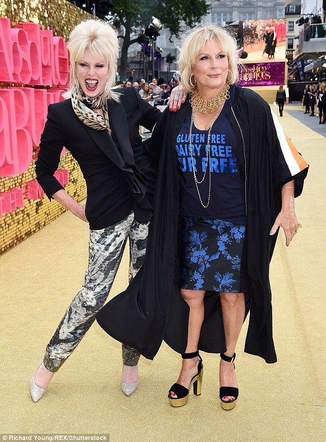 Look who it is! Stars of the Ab Fab film Joanna Lumley and Jennifer Saunders put on a typi...
