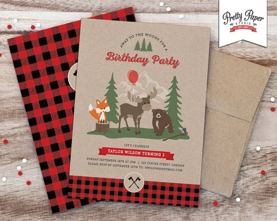 Buffalo Plaid Woodland Birthday Party Invitation // Lumberjack Invite // Rustic 1st Birthday // Boy Girl // Fox Moose Bear // Printable