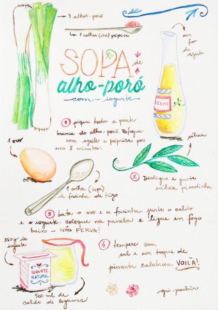 receita ilustrada #4 – sopa de alho poró com iogurte