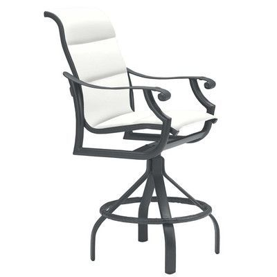 """Tropitone Montreux 27"""" Bar Stool with Cushion Frame Finish: Obsidian, Seat Color: Sparkling Water"""