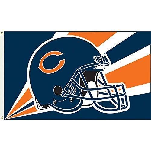 Nfl Bears Flag 3x5 Feet Football Themed Team Color Logo Outdoor Hanging Banner FlagGift FanFan Merchandise Athletic Spirit Navy Blue Orange Nylon