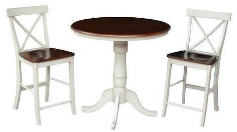 """International Concepts 3 Piece Dining Set 36"""" Round Extension Dining Table Wood/Antiqued Almond & Espresso"""