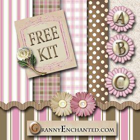 Granny enchanted 39 s blog pink brown free digi scrapbook - Scrapbook background free printables ...